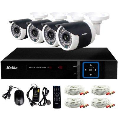 Kit de Seguridad Kolke FULL HD 4 Cámaras IP66+DVR+Acc al mejor precio solo en loi