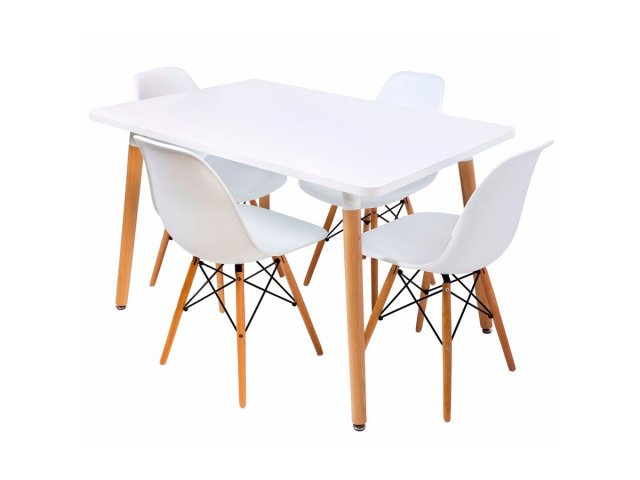 Juego de Comedor Eames 4 sillas + Mesa Rectangular, oferta LOI.