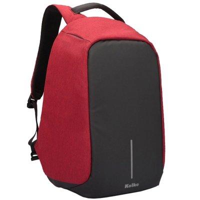 Mochila Antirrobo Tela Impermeable con USB - Rojo al mejor precio solo en loi