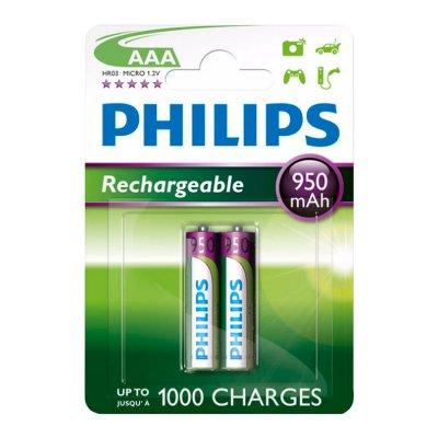 Pilas Recargables Philips AAA x2 950Ah al mejor precio solo en loi